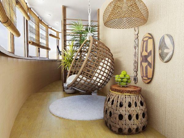 stilvolle Flechtmöbel Bambusrollo Hängesessel