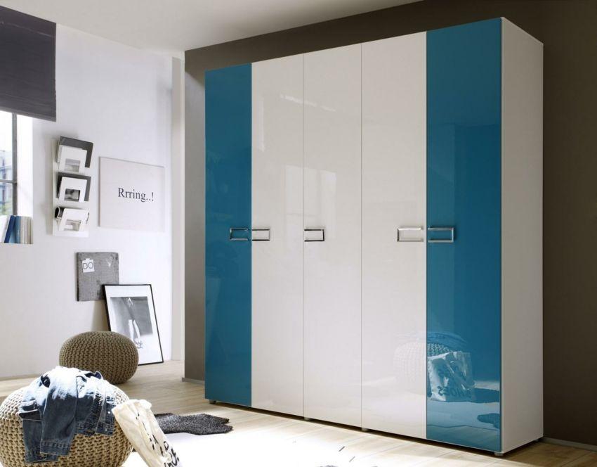 türkisfarben Kleiderschrank klassische Türen Metallgriffe