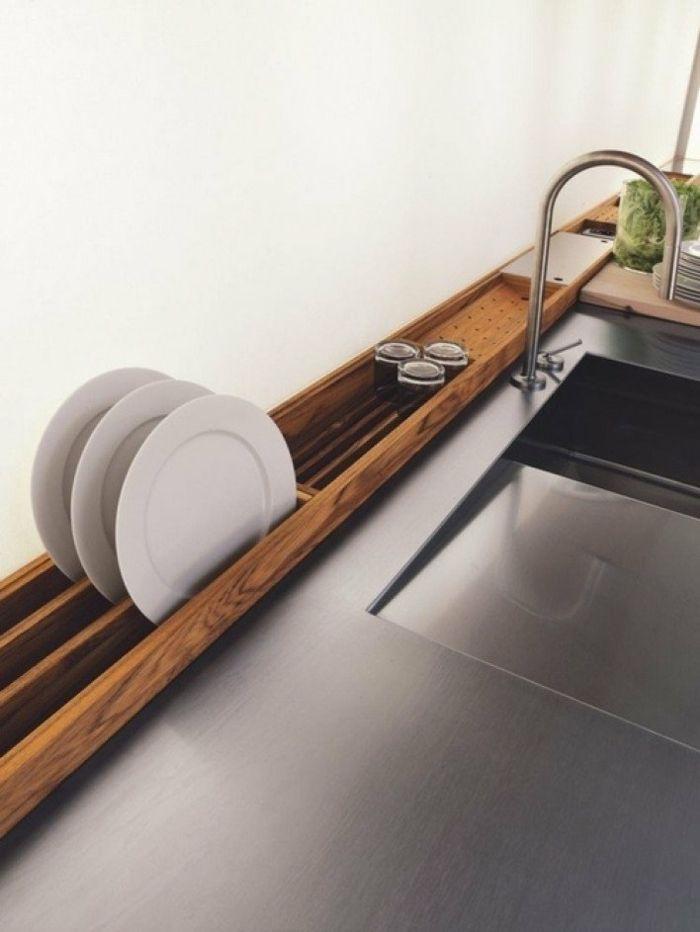 Abtropfbrett Holz modern Arbeitsplatten Edelstahl