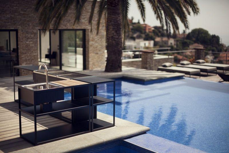 Außenbereich Küche Anthrazit BBQ Luxus Swimmingpool