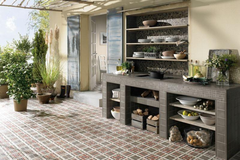 Außenküche Gartenküche Küchenarbeitstisch Ablage mediterran