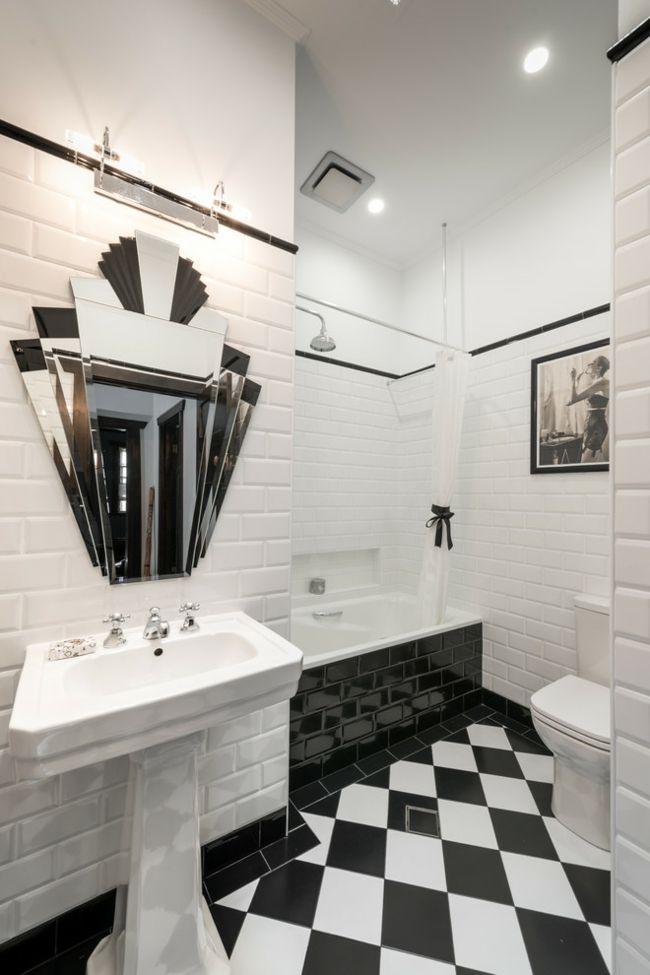 Badezimmer Design Farbwahl Schachbrettboden schwarz-weiß