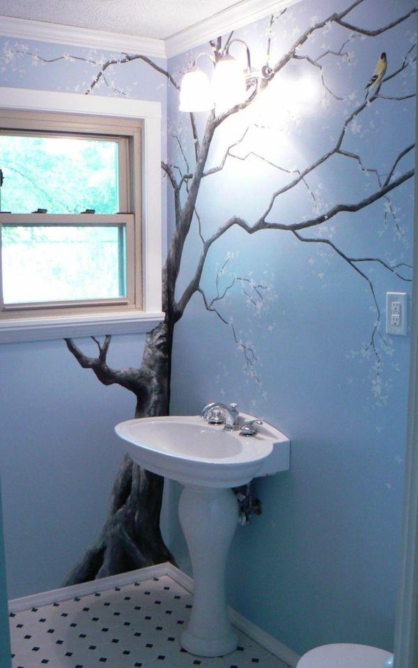 Badezimmer Wandbild Kirschblüte blau