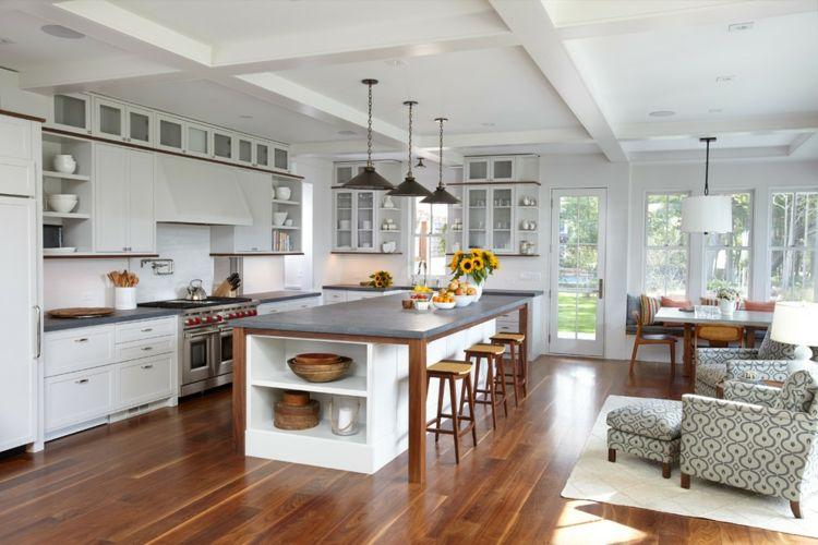Betonarbeitsplatte Kochinsel offene Wohnküche