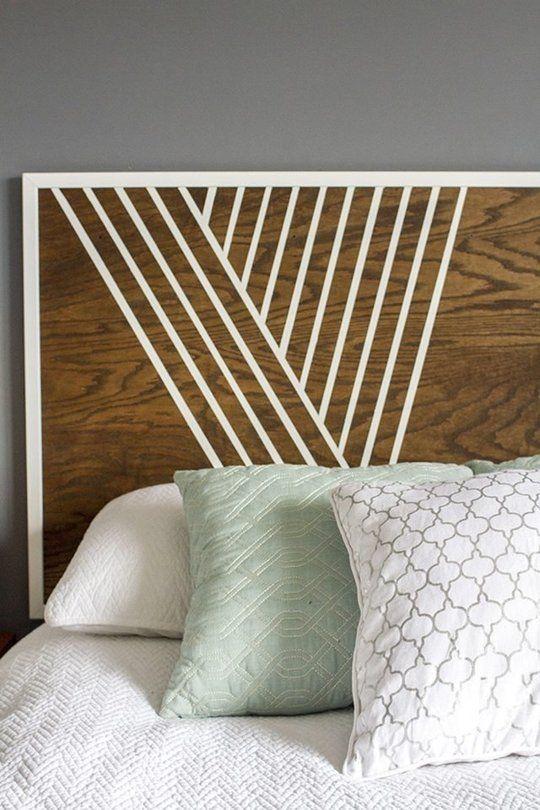 Betthaupt Holz geometrisch Muster weiß