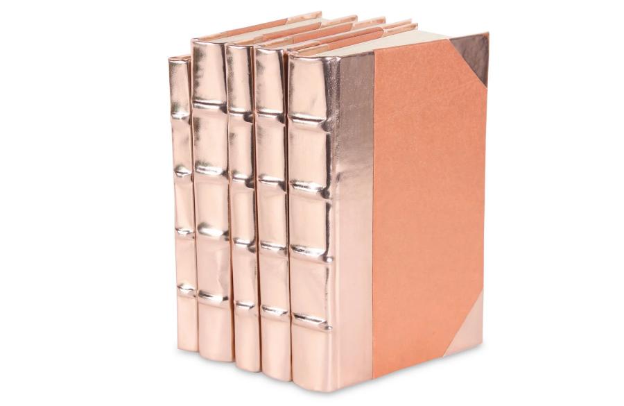 Buchbindung Rosegold glänzend metallisch Lackleder