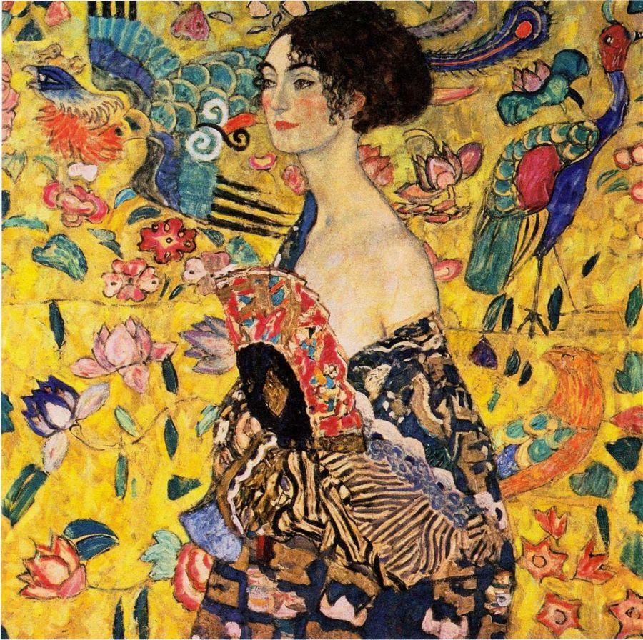 Dame mit Fächer von Gustav Klimt