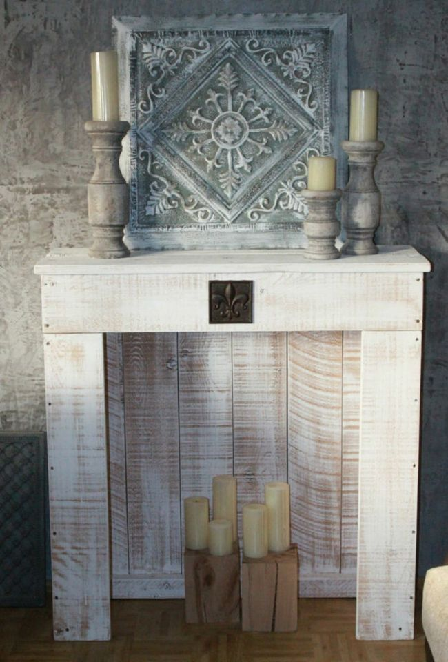 Deko Kamin Kaminumrandung Attrappe antik Weiß