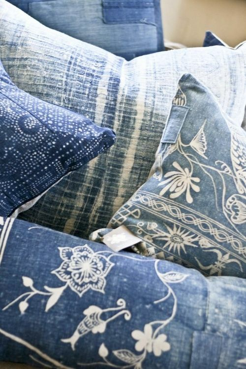 Deko Kissen Azteken-Muster verwaschen Jeansstoff