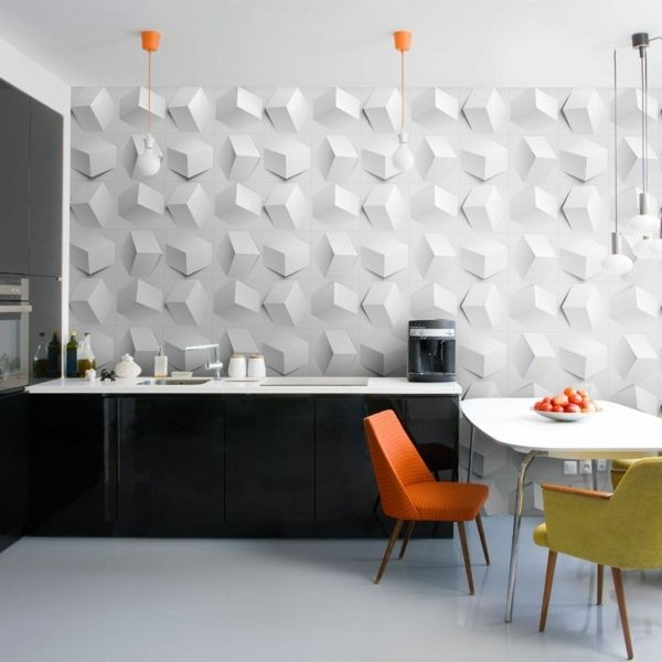 Designer Wandbelag 3D-Wandpaneele Küche modern weiß