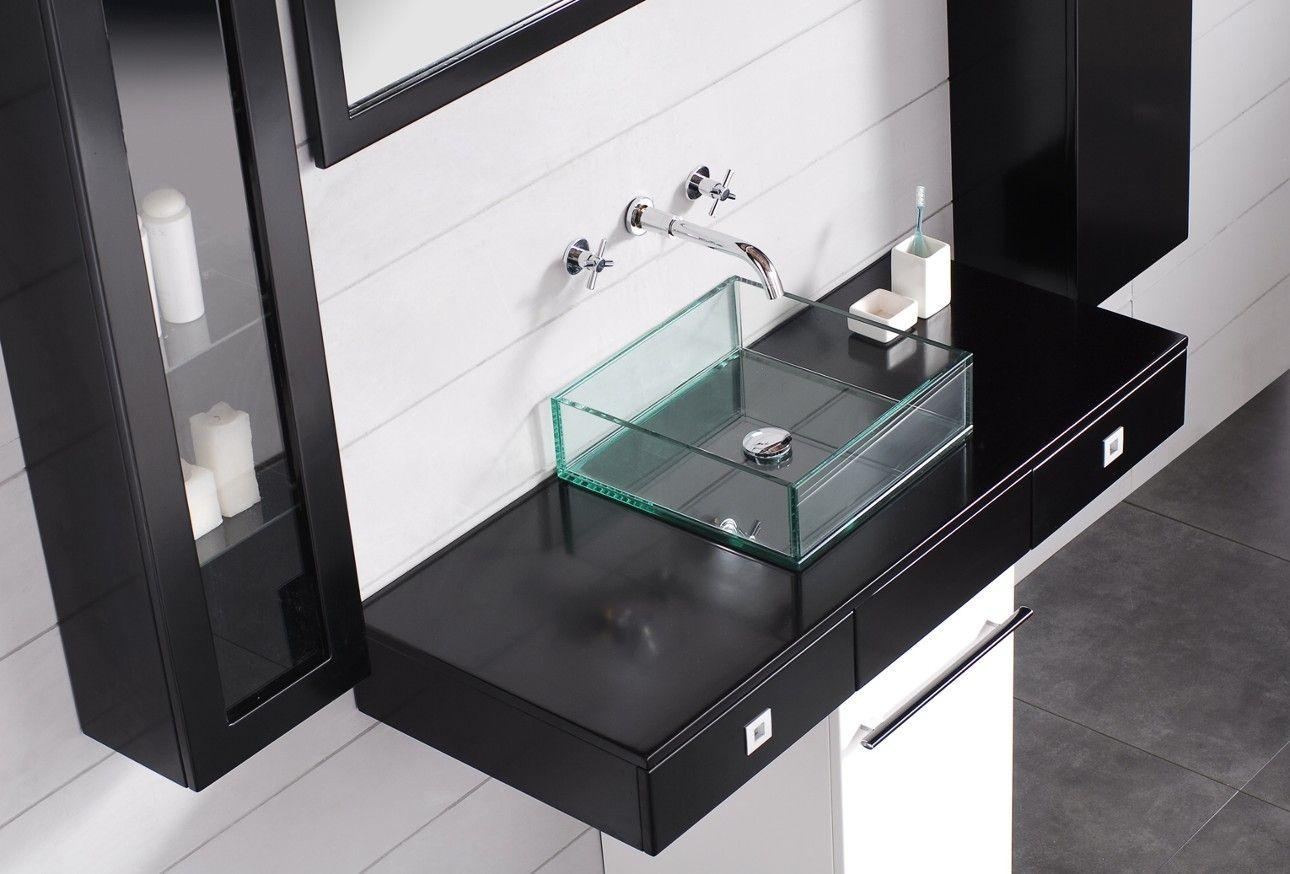 Designer Waschbecken Glas Waschtisch Schwarz Weiß