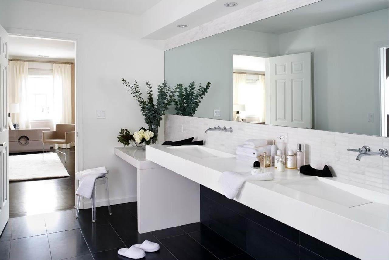 Doppel Waschbecken weiß modern