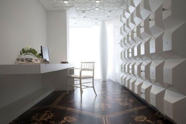 Dreidimensional Wanddesign Wanddekoration eklektisch weiß