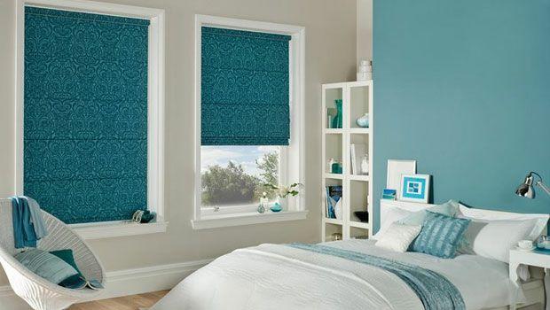 Dunkelblau Faltrollos Fensterabschirmung Ideen Schlafzimmer