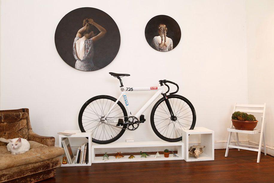 Fahrrad aufrecht Haltung Wohnraum funktional Möbel
