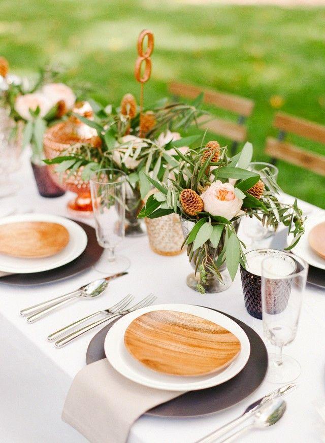 Festlich Tischdeko Vielfalt Materialien Holzteller