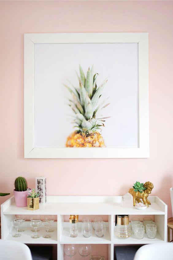 Früchte Poster Ananas modern weiß rosa