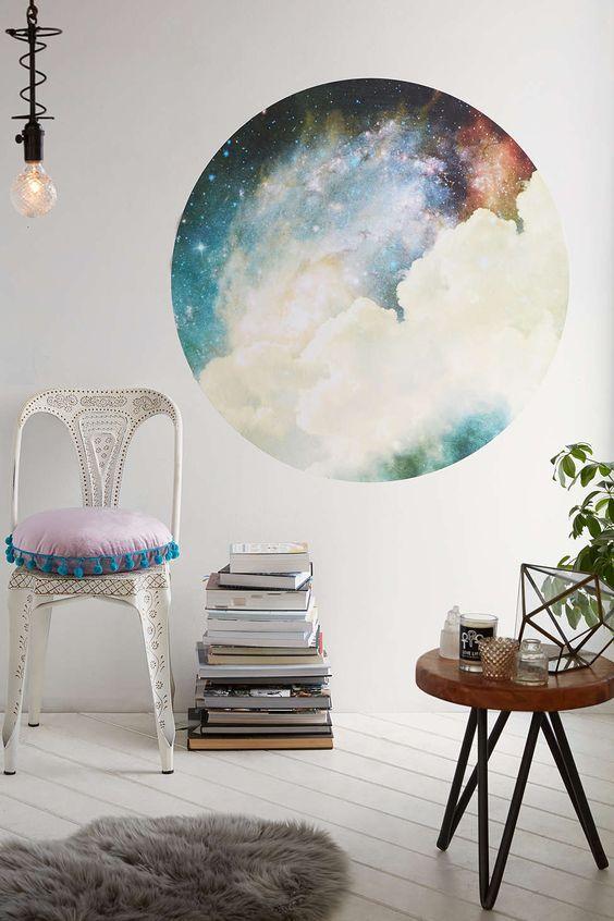 Galaxie All Wand Aufkleber rund