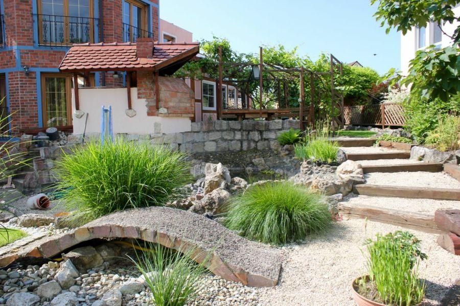 Gartendesign Teich Gartenbrücke Sträucher