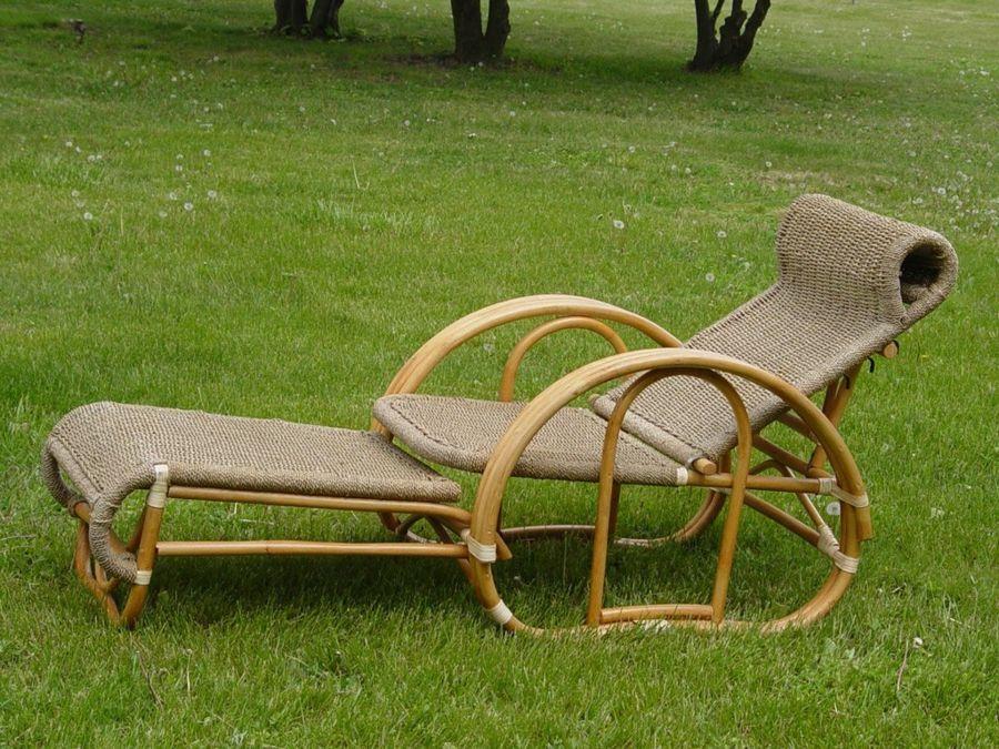 Gartenliege Flechtoptik Bambus Vintage Look