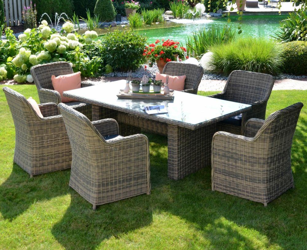 Gartenmöbel Sitzgruppe Gartenteich Polyrattan