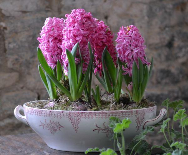 Glasierte Keramik mit Frühlingsdekoration