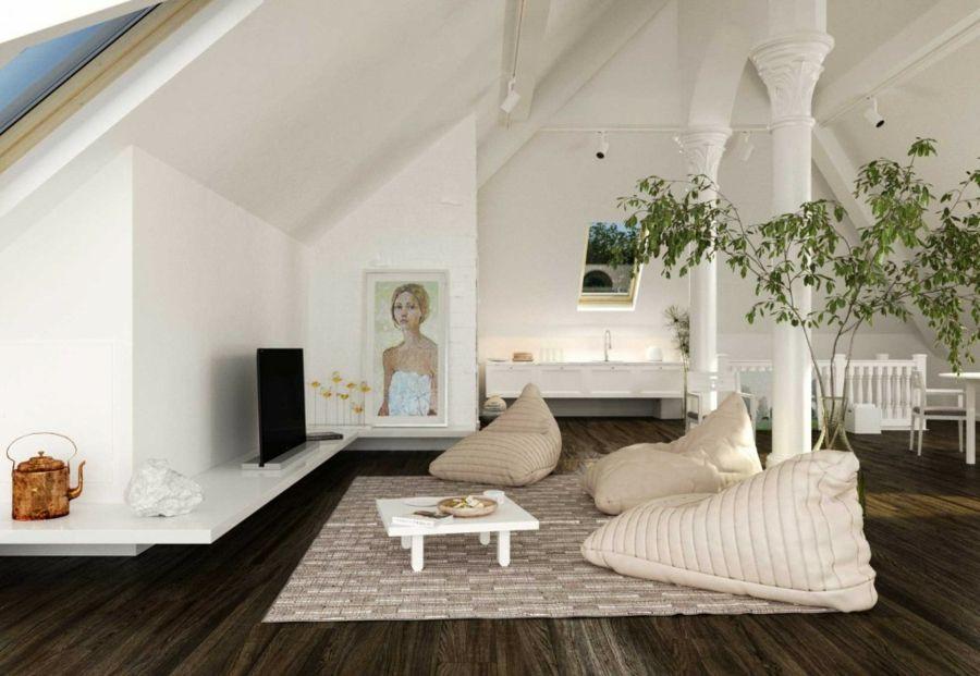 Großzügig Wohnzimmer Dachschräge Einrichtung Idee