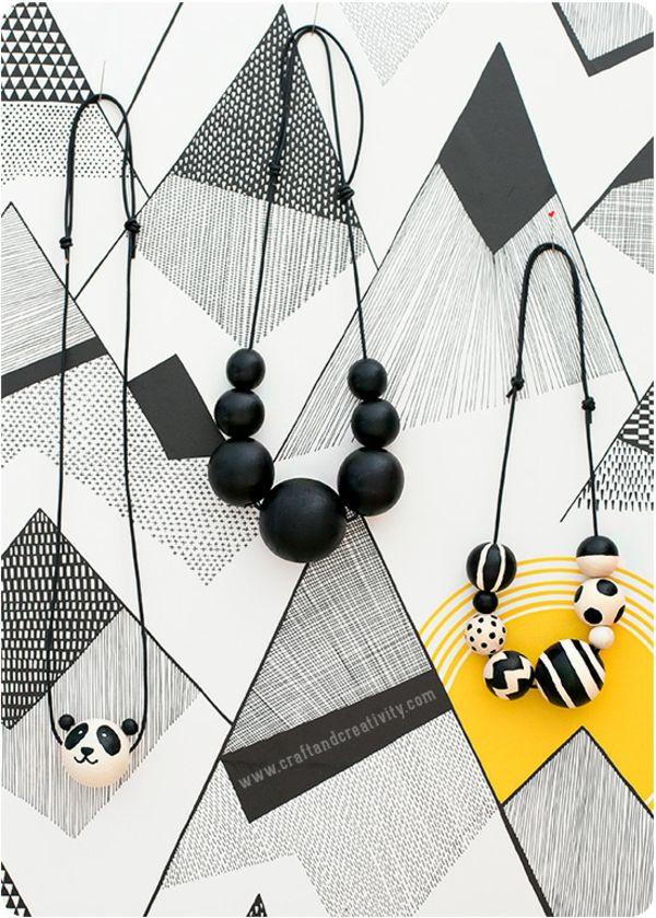 Halskette DIY Holzperlen modern