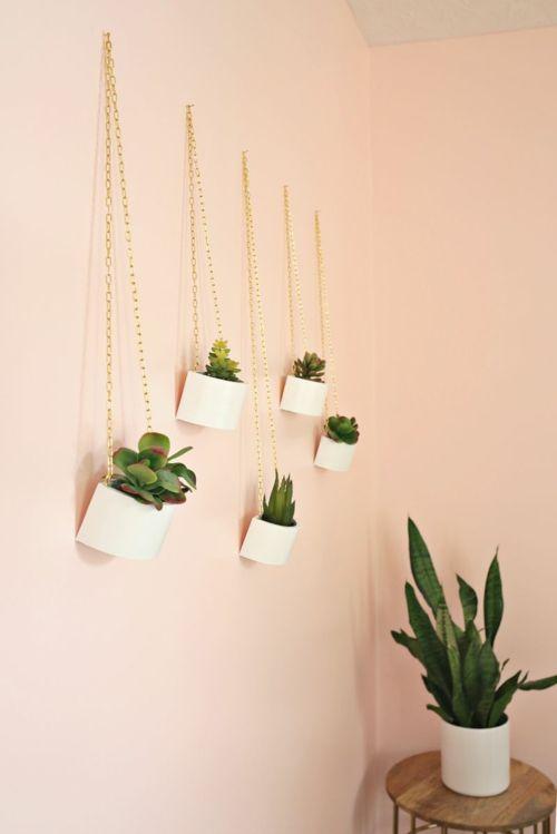 Heimbüro Deko Sukkulenten hängende Pflanztöpfe weiß