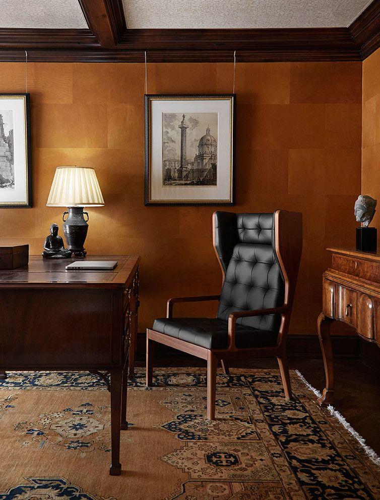 Heimbüro Retro Massivholz Schreibtisch Leder