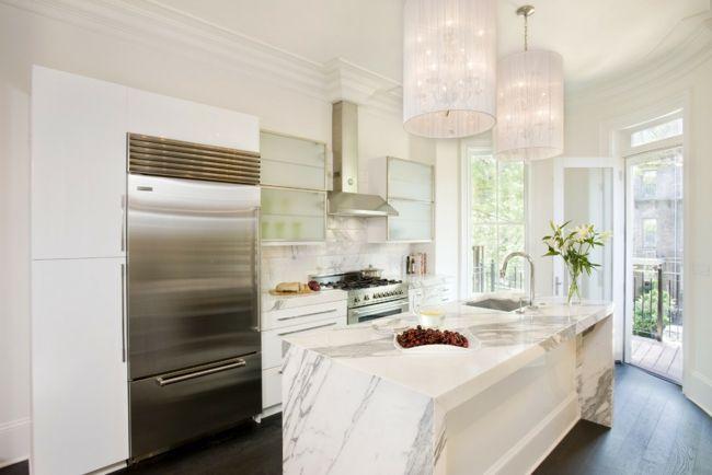 Küche Kochinsel elegant Marmoroberfläche