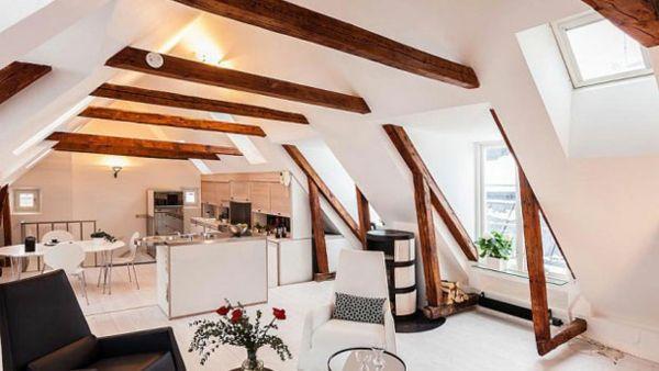 Küche Luxus Dachraum wohnlich Atmosphäre
