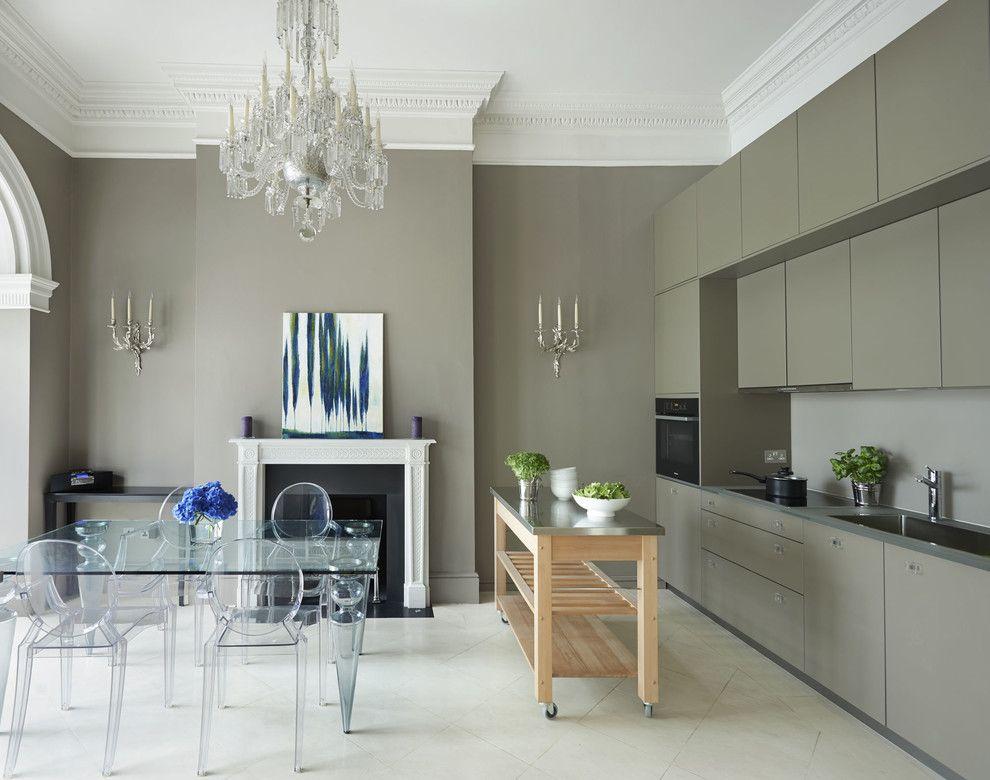 Küche grau Designer Möbel Glastisch Glasstuhl