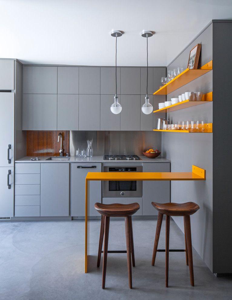 Küche grau poppig Element Theke orange