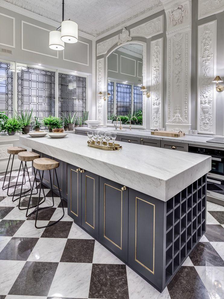 Küche modern Klassik Schachbrettboden