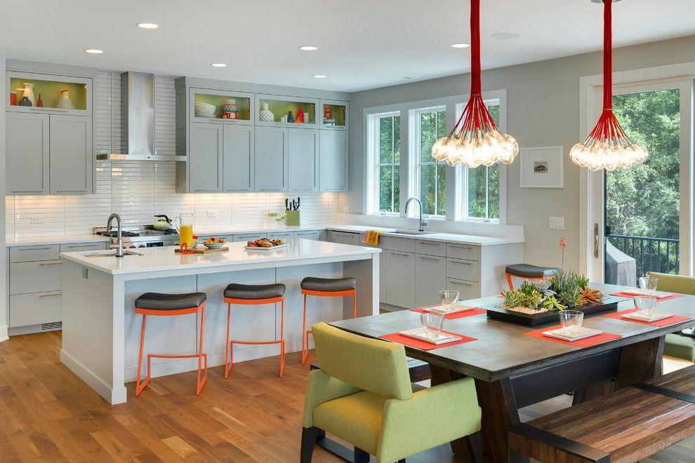 Küchenfarbe Weiß Orange Hellgrün Akzent