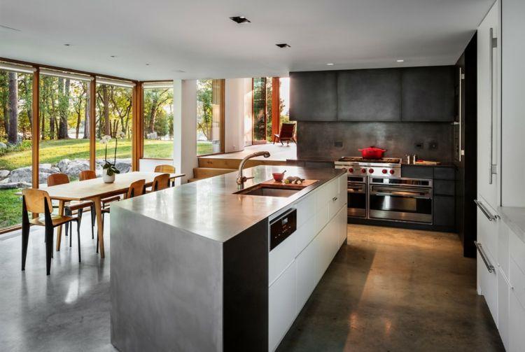 Küchengestaltung schick Beton Kreidefarbe schwarz