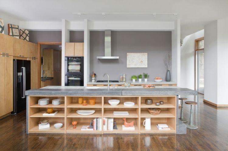 Küchengestaltung trendig Kochinsel Betonoberfläche