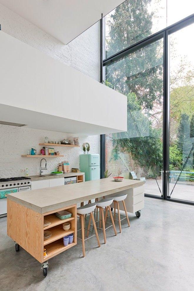 Kücheninsel auf Rollen Retro Kühlschrank
