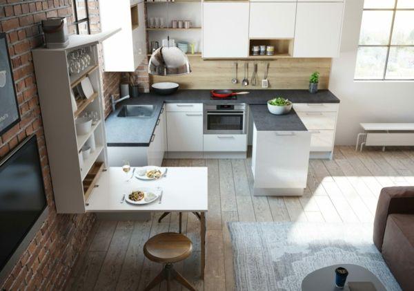 Küchenmöbel platzsparend Utensilienwand Klapptisch