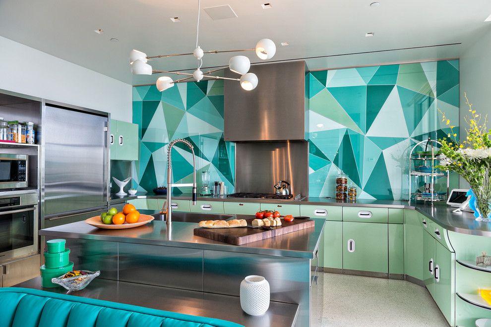 Küchenrückwand grafisch Muster Metallelemente grün