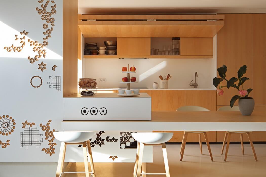 Küchenzeile klappbar Holzfront Tresen