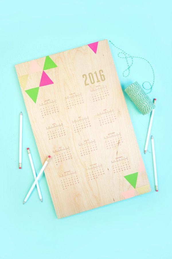 Kalender Holzbrett DIY Stempel