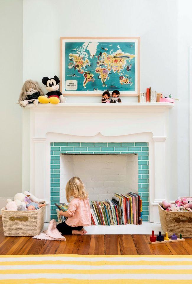 Kinderzimmer Kaminkonsole weiß türkis Gestaltung