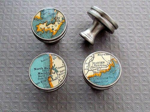 Kleinteile Nickel Möbelgriff Vintage Atlas Weltkarte