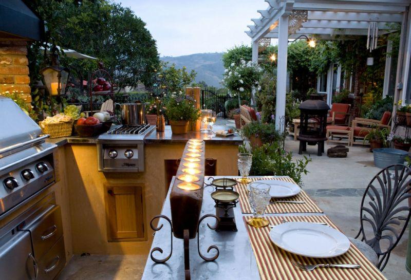 Komplette Außenküche Grill Kochfeld edel