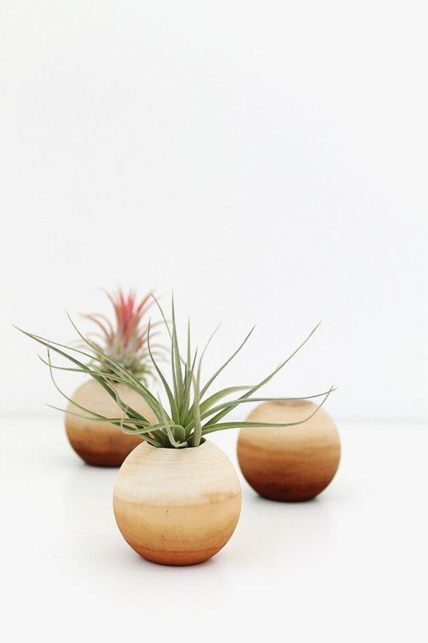 Kugeltopf Hängepflanzen Boho Holz DIY