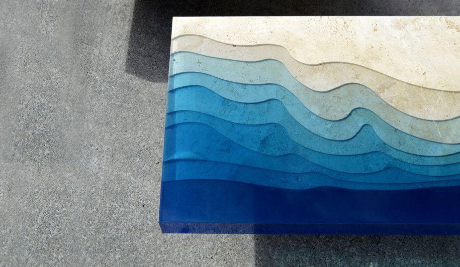 Kunstvoll Designer Tisch Meeresblau