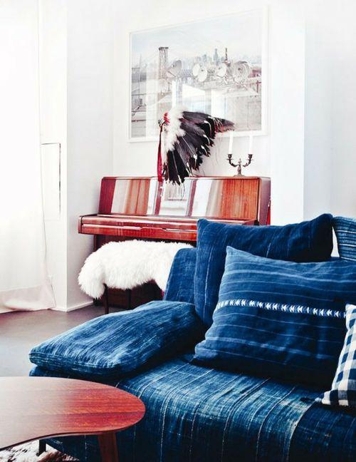 Möbelbezug beständig Jeansstoff modern Idee
