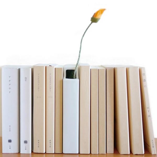 Minimalistisch Vase Weiß Buchform Bücherregal